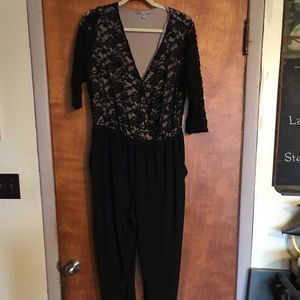 NY Collection Jumpsuit Black Lace 1X